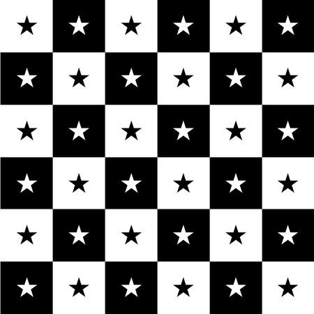 chequer: Star Black White Chess Board Background Vector Illustration