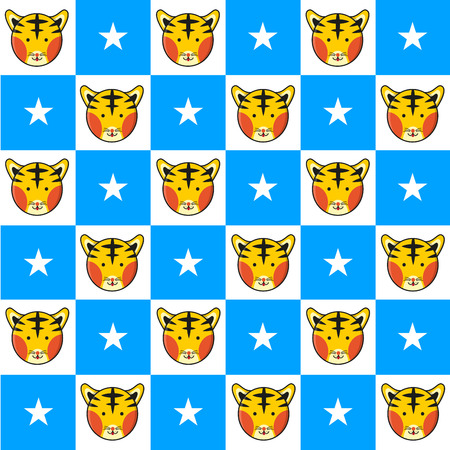 chequer: Tiger Star Blue White Chess Board Background Vector Illustration Illustration