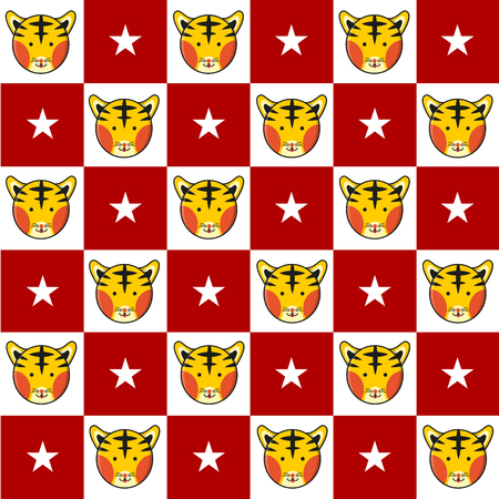 chequer: Tiger Star Red White Chess Board Background Vector Illustration