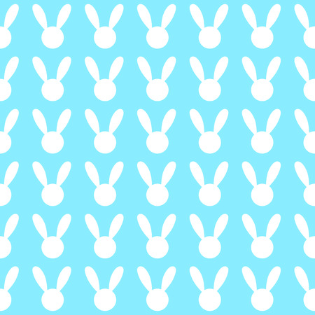 White Rabbit Blue Background Vector Illustration