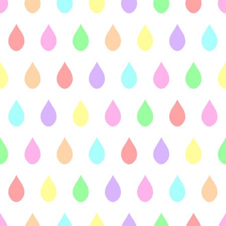 downpour: Colorful Pastel Rain White Background Vector Illustration