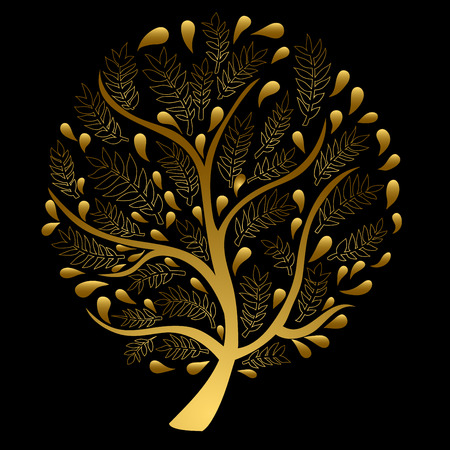 gold tree: Gold Tree isolated on Black Background Vector Illustration