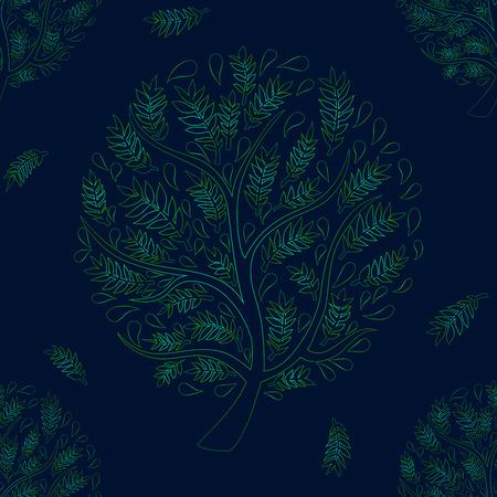 wood creeper: Green Tree on Green Blue Background Vector Illustration Illustration