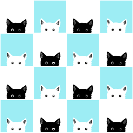 Black White Blue Cat Chess board Background Illustration