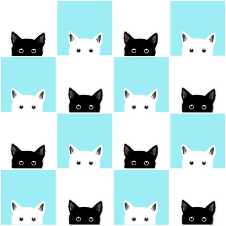 Black White Blue Cat Chess board Fond Illustration