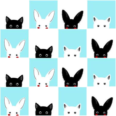ブラック ホワイト ブルー猫ウサギ チェス盤に背景イラスト  イラスト・ベクター素材