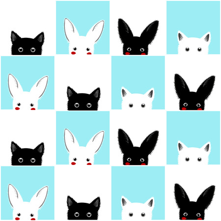 Black White Blue Cat Rabbit Chess board Background Illustration Illusztráció