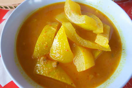 ash gourd: Yellow Curry with White Gourd. Delicious Colorful Thai Food.