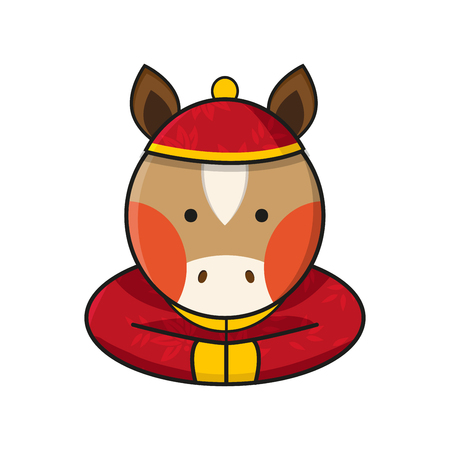 Horse Chinese Happy New Year Vector Illustration