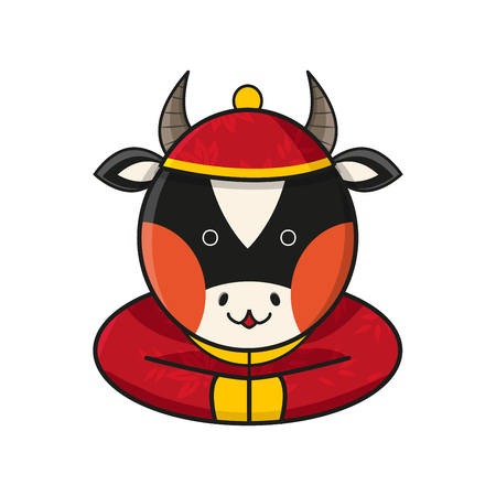year of the ox: Ox Chinese Happy New Year Vector Illustration Illustration