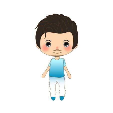 white pants: Handsome Mustache Man in Blue Shirt and White Pants. Vector Illustration Illustration