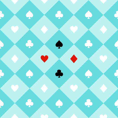 chequer: Card Suits Blue Aqua Green Mint White Chess Board Diamond Background Vector Illustration Illustration