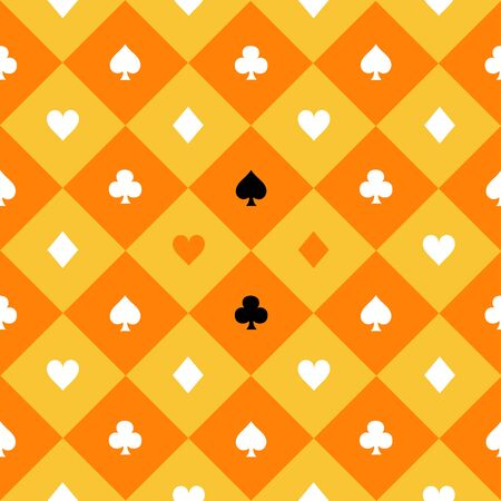 queen of clubs: Card Suits Yellow Orange Gold White Chess Board Diamond Background Vector Illustration Illustration