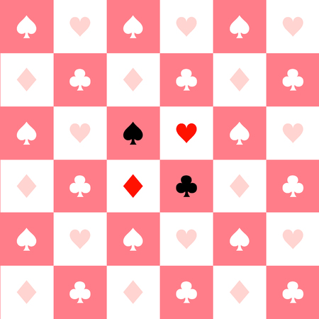 chequer: Card Suits Pink White Chess Board Background Vector Illustration