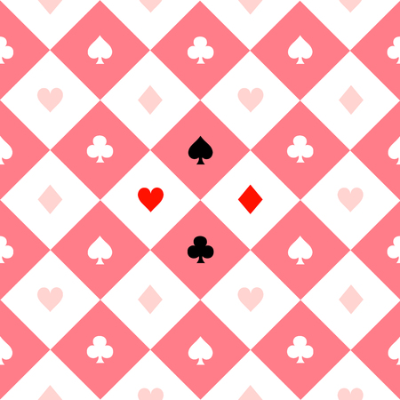 Card Suits Pink White Chess Board Diamond Background Vector Illustration