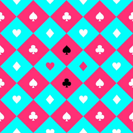 Card Suits Blue Sky Pink White Chess Board Diamond Background Vector Illustration