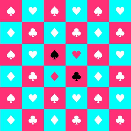 Card Suits Blue Sky Pink White Chess Board Background Vector Illustration