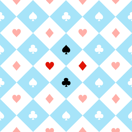 chequer: Card Suits Blue Red White Chess Board Diamond Background Vector Illustration Illustration