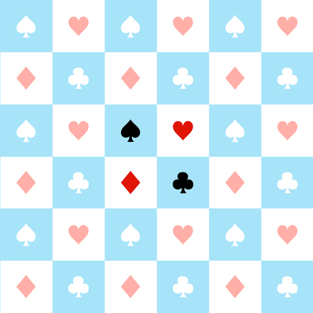 chequer: Card Suits Blue Red White Chess Board Background Vector Illustration