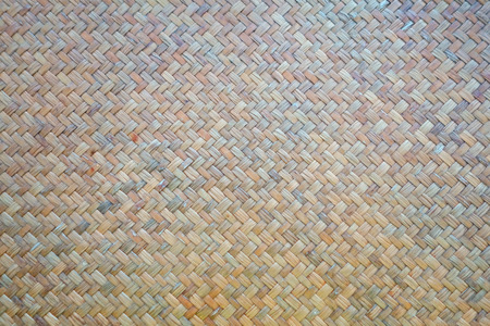 Bamboo Brown Straw Serving Mat. Traditional Flax Weaving. Detail of a Woven Mat.