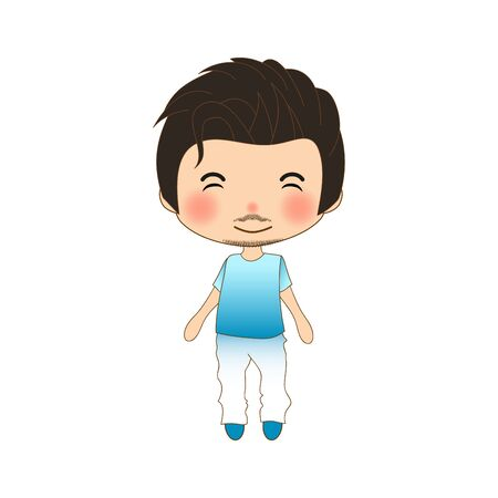 Handsome Mustache Man in Blue Shirt and White Pants. Vector Illustration Illustration