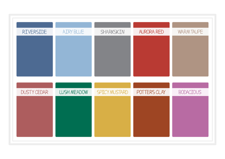 pallette: Fall Colors for 2016. Pantone, Colors of the Year, Palette Fashion Colors. with Name. Vector Illustretion Illustration