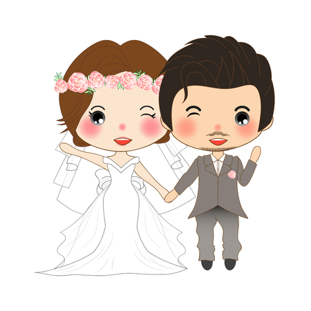 Couple Wedding. Cute Woman in Bride Dress and Mustache Man in Groom Tuxedo.  Illustration. isolated on White Background
