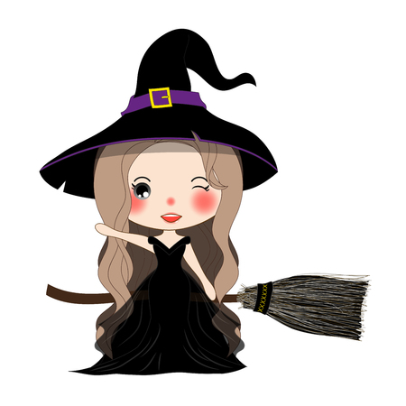 Halloween Witch Flying with Broom and Hat. Beautiful Young Woman on Boomstick Vector. Illustration isolated on White Background.