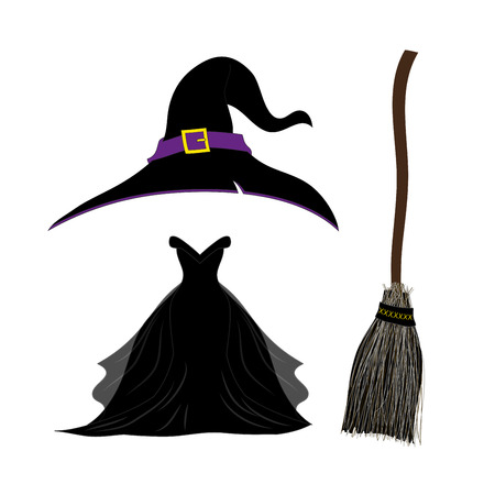 besom: Witch Hat with Strap and Buckle. Black Gothic Witch Dress. Witch Broom. Halloween Costume Set. Vector Illustration. isolated on white background