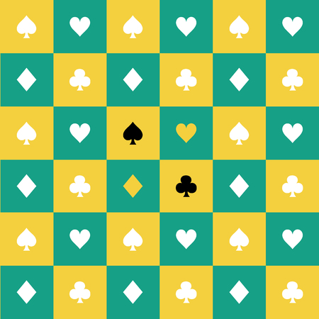 Card Suits Yellow Green Chess Board Background Vector Illustration