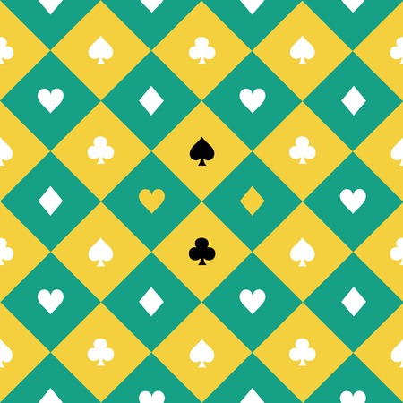 chequer: Card Suits Yellow Green Chess Board Diamond Background Vector Illustration Illustration