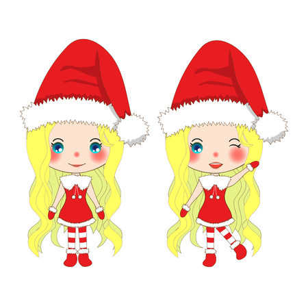 pompom: Merry Christmas with Cute Santa Girl. Pompom Hat and Outfit Santa Claus Costume. Beautiful Young Woman Vector. Illustration isolated on White Background. Illustration