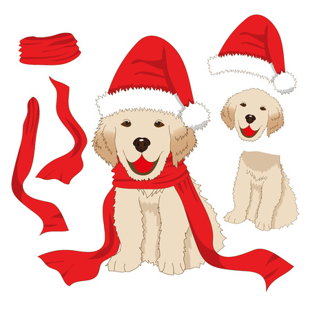 Puppy Golden Retriever with Santa Hat and Scarf. Baby Dog Labrador Greeting Card Christmas Day isolated on White Background. Vector Illustration.