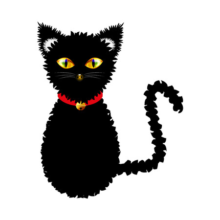 Black Cat with Yellow Eyes and Golden Ball Bell Red Choker. Halloween Day. Vector Illustration . isolated on white Background.