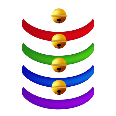 belts: Pet Collar with Golden Ball Collection. Red, Green, Blue, Purple Belts. isolated . Vector Illustration. Illustration