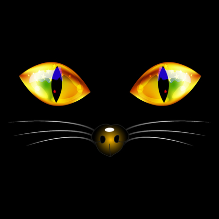 whisker: Black Cat with Yellow Golden Eyes, Nose and White Whisker. Halloween Day. Vector Illustration. isolated