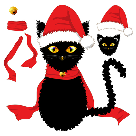 costume ball: Black Cat with Yellow Eyes. Santa Hat, Red Ribbon Scarf and Golden Jingle Bell Ball. Christmas Day. Vector Illustration . isolated