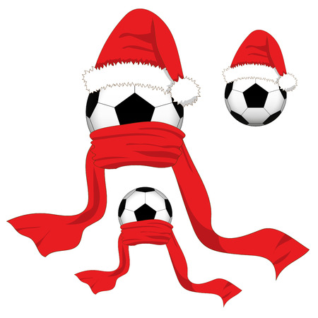 Soccer Ball. Football Ball with Santa Hat and Red Scarf. Christmas Day. Vector Illustration. isolated on White Background.