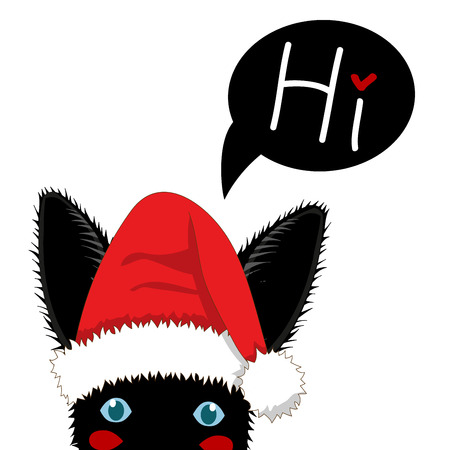 Black Rabbit with Santa Hat Sneaking. Greeting Card Christmas Day. Vector Illustration. isolated on White Background Illustration