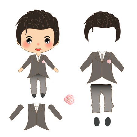 engagement party: Groom Gray Weddind Suit Costume, Vector Illustration. isolated on White Background. Illustration