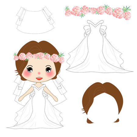 headband: Bride White Weddind Dress Costume, Veil, Crown Pink Rose Flower ,Diadem. Head wreath. Vector Illustration. isolated on White Background.