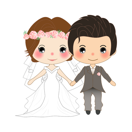 Couple Wedding. Cute Woman in Bride Dress and Handsome Man in Groom Tuxedo. Vector. Illustration. isolated on White Background Illustration
