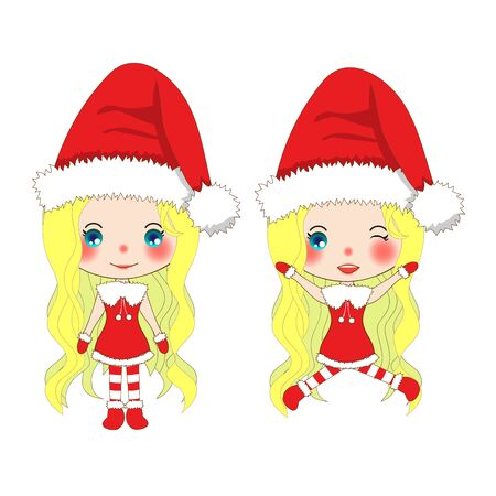 Merry Christmas with Cute Santa Girl Jumping. Pompom Hat and Outfit Santa Claus Costume. Beautiful Young Woman Vector. Illustration isolated on White Background. Illustration