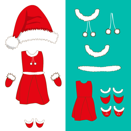 pompom: Santa Pompom Hat and Woman Outfit. Gloves , Red and White Stripe Socks and Boots. Christmas Costume Set. Vector Illustration. isolated on White Background. Illustration