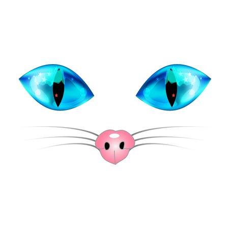 whisker: White Cat with Blue Eyes, Pink Nose and White Whisker. Vector Illustration. isolated on white Background. Illustration