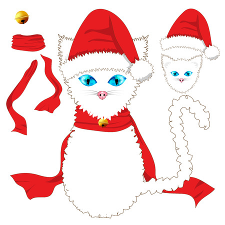 christmas pussy: White Cat with Blue Eyes. Santa Hat, Red Ribbon Scarf and Golden Jingle Bell Ball. Christmas Day. Vector Illustration . isolated on white Background. Illustration
