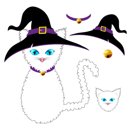 White Cat with Blue Eyes. Witch Hat, Purple Collar and Golden Ball Bell. Halloween Day. Vector Illustration . isolated on white Background.
