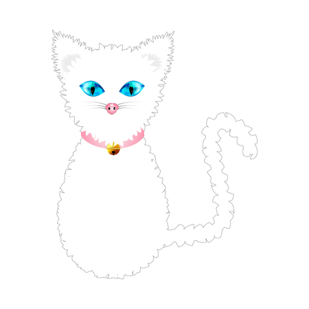 blue collar: White Cat with Blue Eyes and Golden Ball Bell Pink Collar. Vector Illustration . isolated on white Background.
