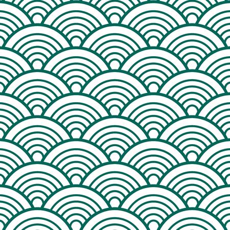 인디고 화이트 그린 전통적인 파도 일본어 중국어 Seigaiha 패턴 배경 벡터 일러스트