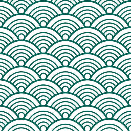 Indigo White Green Traditional Wave Japanese Chinese Seigaiha Pattern Background Vector Illustration